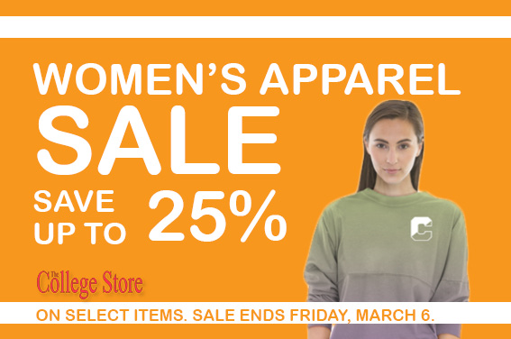 25% OFF Women's Apparel in The College Store