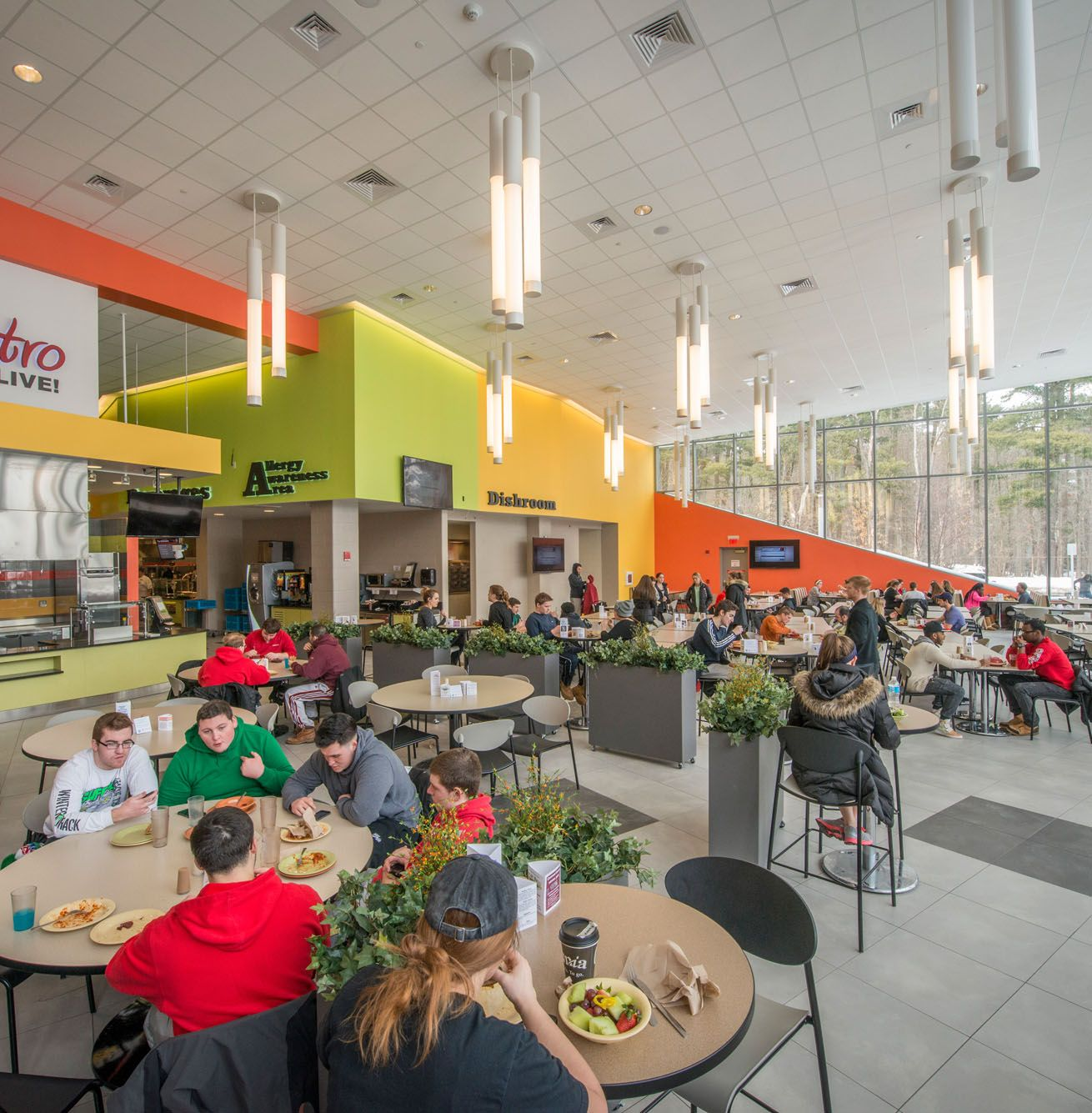 Students eating in dining facilities